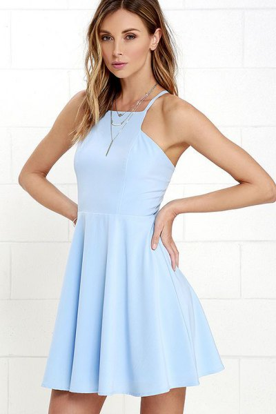 blue halter neck fit and flare mini dress