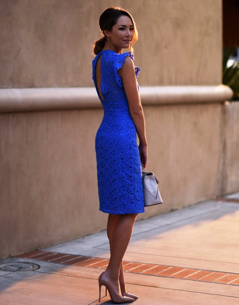 blue keyhole back lace sheath knee length dress