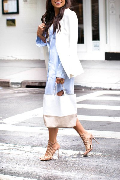 blue shirt dress with white blazer and strappy heels