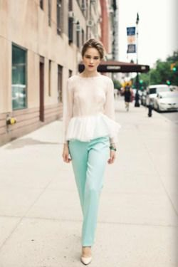 blue straight leg pants with pink and white peplum top