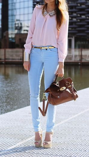 blush pink blouse with light blue skinny pants