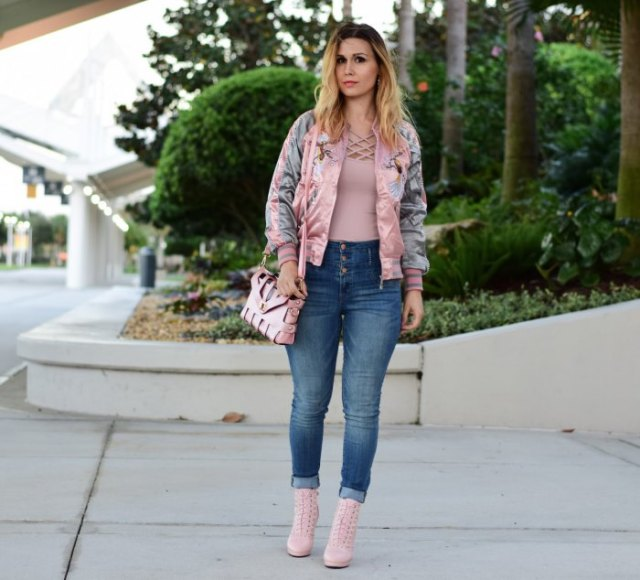 blush pink embroidered bomber jacket with criss cross top
