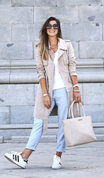 blush pink long blazer with light blue cuffed pants