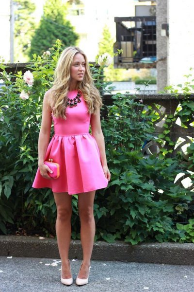 blush pink sleeveless mini skater dress with statement necklace