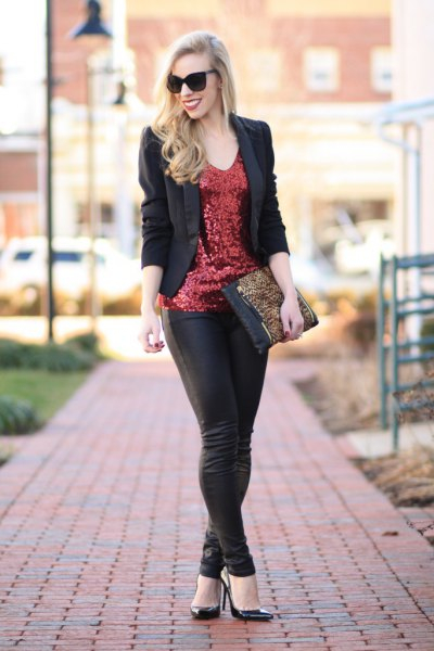 bronze sequin tank top with black blazer and leather leggings