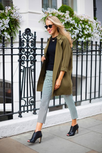 brown chiffon long jacket with checkered pants and black leather open toe ankle boots