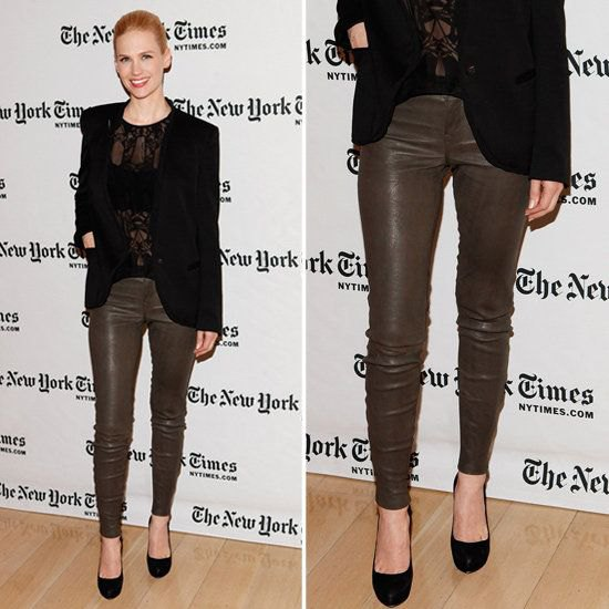 brown coated skinny jeans with black lace top and blazer