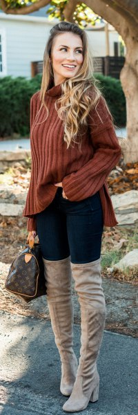 brown mock neck ribbed sweater with grey thigh high boots