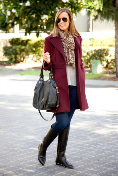 burgundy coat with leopard print scarf and knee high boots