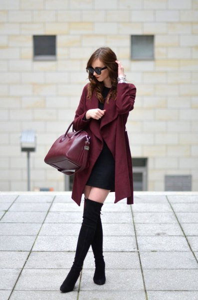 burgundy trench coat with black mini shift dress