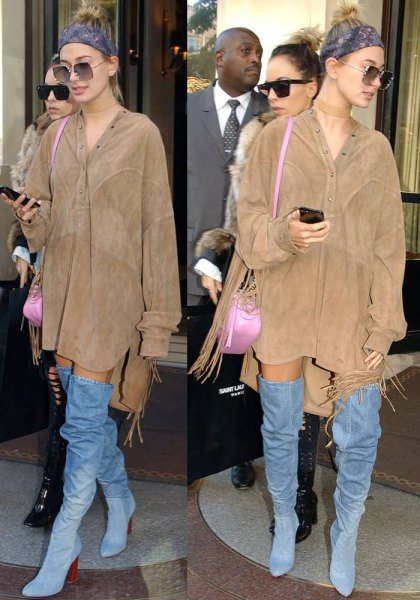 camel suede coat dress with denim boots