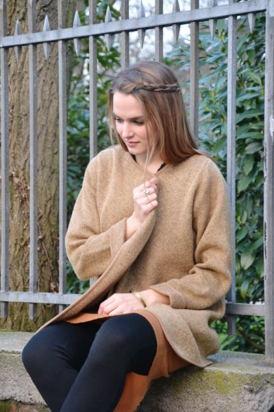 camel sweater coat with black leggings