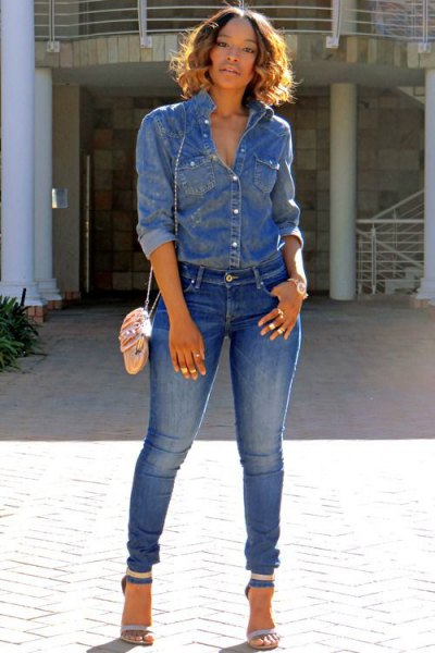 chambray shirt with jeans and denim open toe ankle strap heels