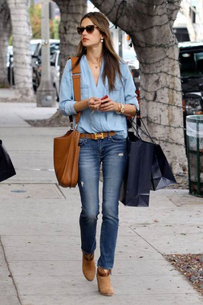 chambray shirt with jeans and red belt