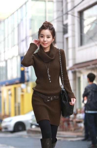 chocolate brown turtleneck belted sweater dress
