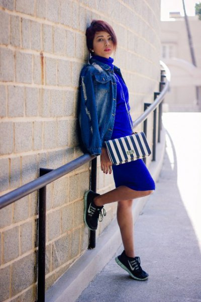 cobalt blue mini shift dress with denim jacket