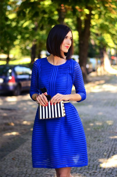 cobalt blue striped semi sheer fit and flare mini dress
