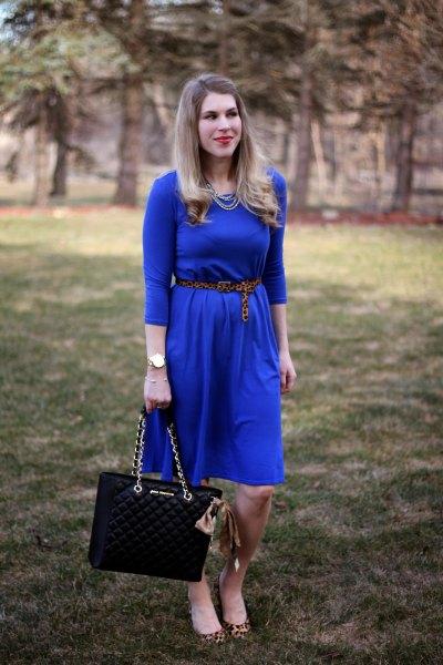 cobalt blue three quarter sleeve belted midi flared dress