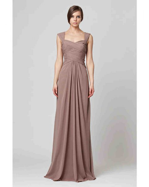 coffee brown maxi flared pleated bridesmaid dress