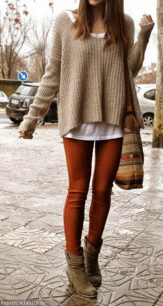 coffee brown slightly flared knit sweater over white tank top