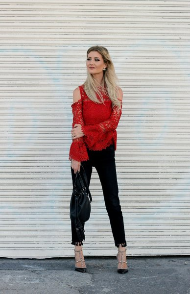 cold shoulder bell sleeve blouse with black ankle jeans