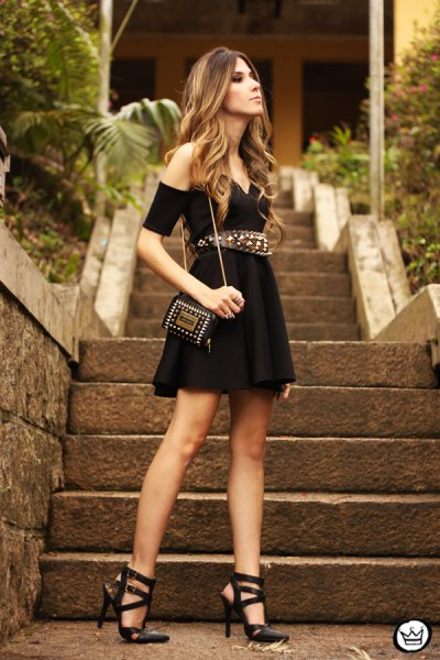 cold shoulder mini pleated dress with belt