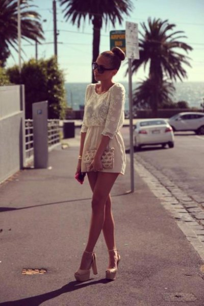cream gathered waist two toned lace and chiffon mini dress