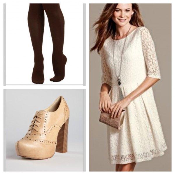cream half sleeve gathered waist mini dress