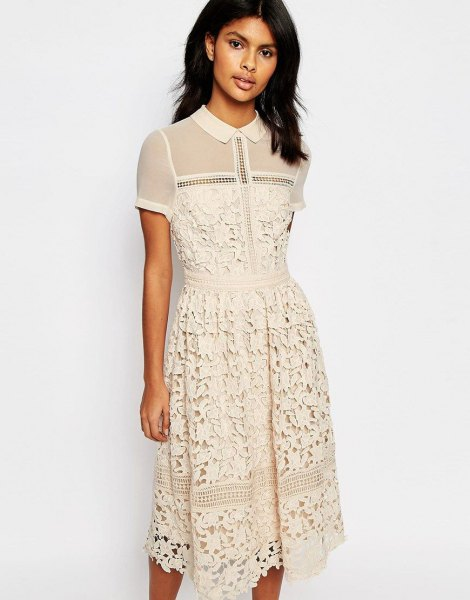 cream semi sheer collared lace midi dress
