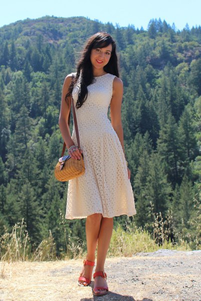 creme sleeveless fit and flare crochet lace midi dress