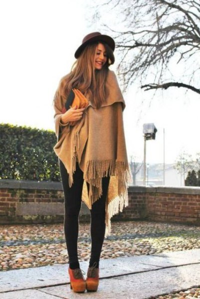 crepe fringe blanket scarf with leggings and orange suede ankle boots
