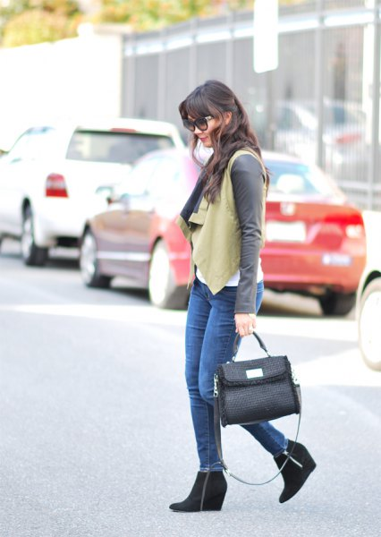 crepe vest with grey long sleeve tee and black ankle wedge boots