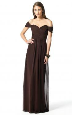 dark brown off the shoulder maxi bridesmaid dress