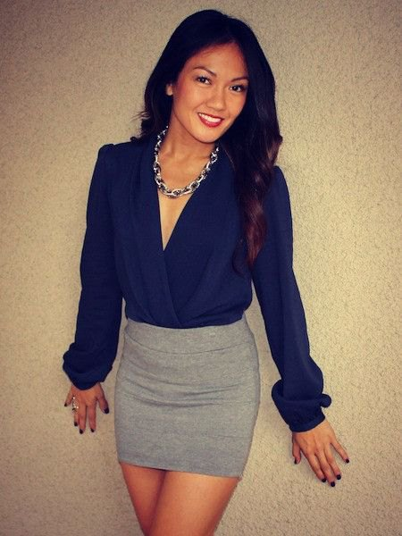 deep blue blouse with grey wool mini bodycon skirt