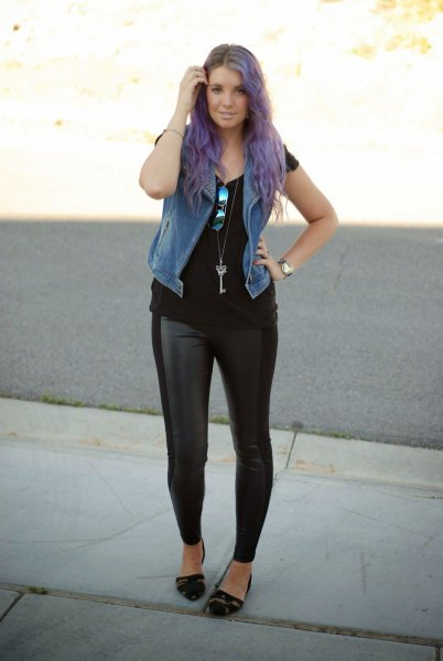 faux fur vest with black tee and leather leggings
