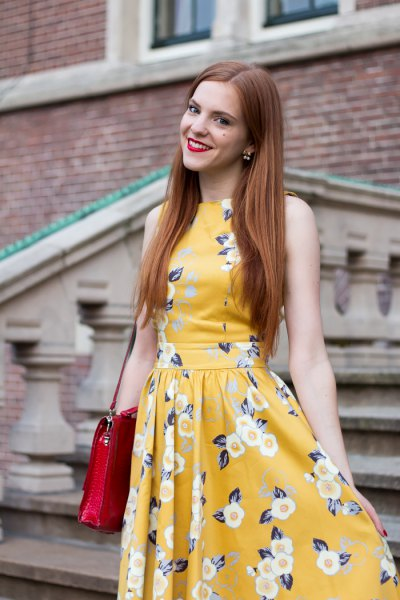 fit and flare floral printed midi dress