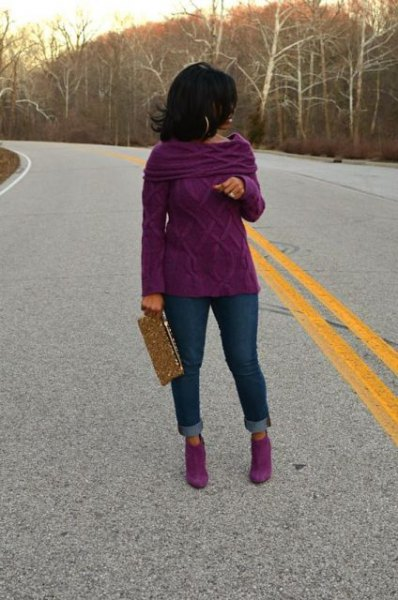 folder shoulder boat neck cable knit sweater with purple boots