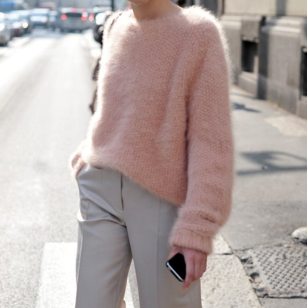 fuzzy chunky sweater with light grey chinos