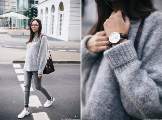fuzzy knit sweater with grey skinny jeans