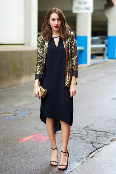 gold blazer with black v neck shift midi dress
