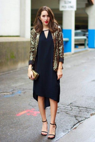 gold blazer with black v neck shift midi dress