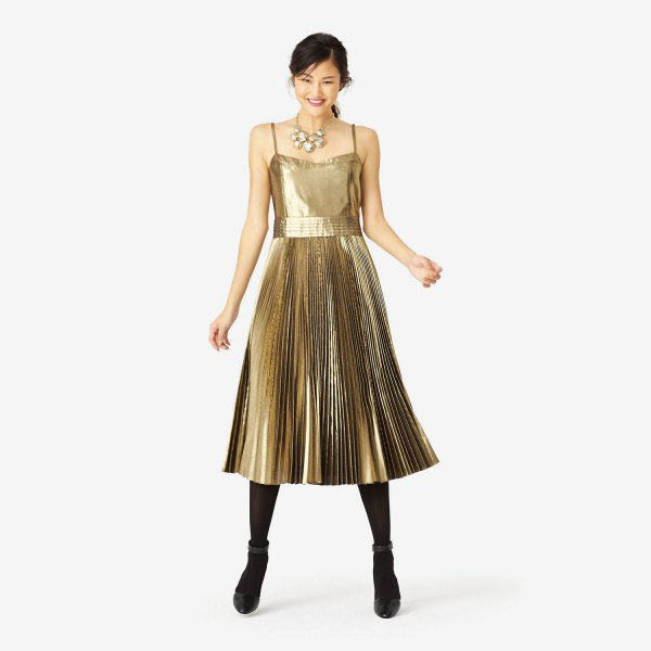 gold lame spaghetti strap fit and flare pleated midi dress