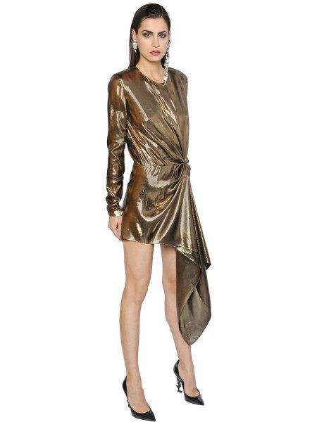 gold long sleeve draped mini lame dress