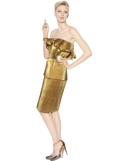 gold off the shoulder ruffle knee length lame dress