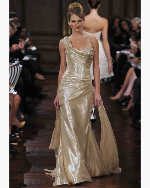 gold one shoulder floor length mermaid lame dress
