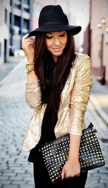 gold sequin blazer jacket with black skinny jeans