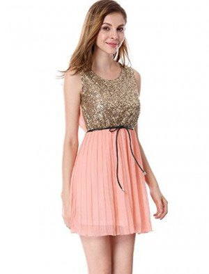gold sequin tank top with blush pink mini chiffon pleated skirt