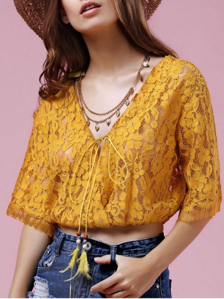 golden lace semi sheer cropped blouse with straw hat