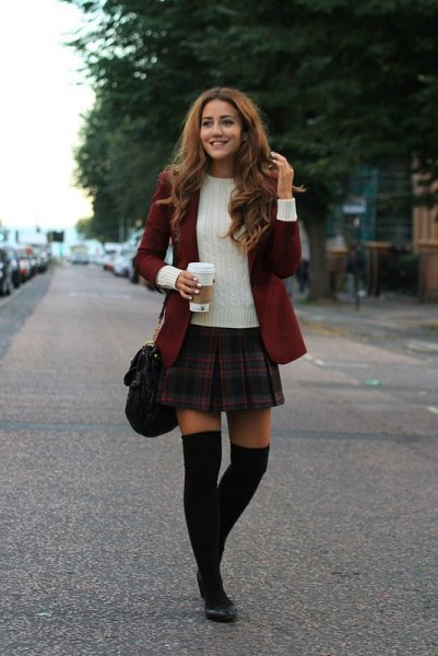 grey and navy plaid mini skirt with burgundy blazer