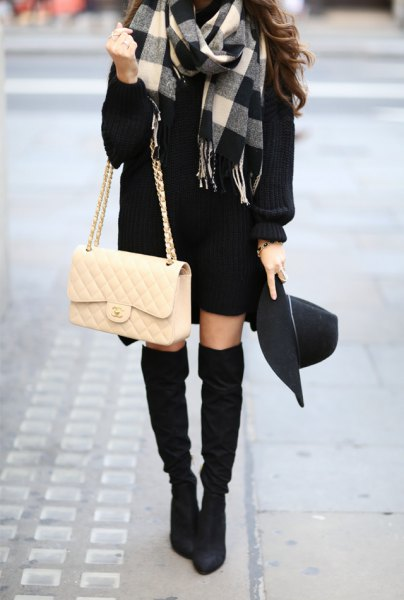 grey black and white plaid wool coat with sweater dress